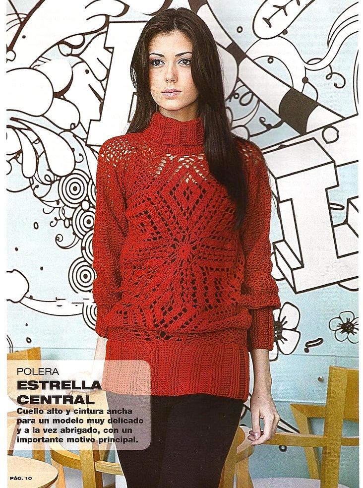 Красный пуловер из мотивов
