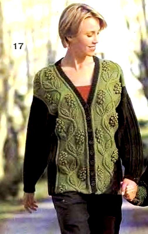 Пуловер с цветами и жакет