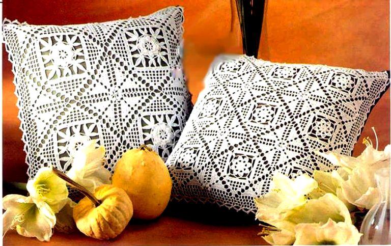 Подушки. Филейное вязание