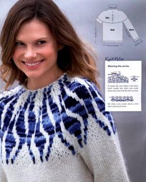 Пуловер с эффектной кокеткой