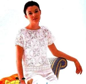 Оригинальная белая блузка из мотивов