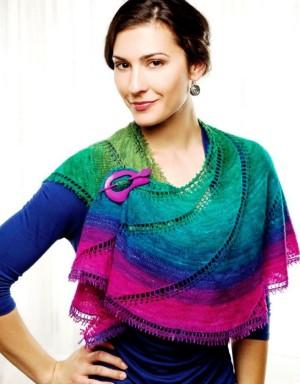 Ажурная многоцветная шаль