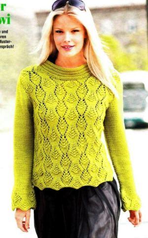 Ажурный пуловер цвета киви