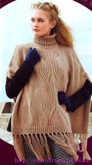 Пуловеры – пончо спицами
