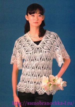 Блузка с ананасами крючком