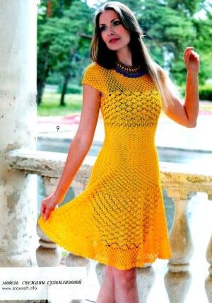 Вязание модели красивых платьев, схемы крючком