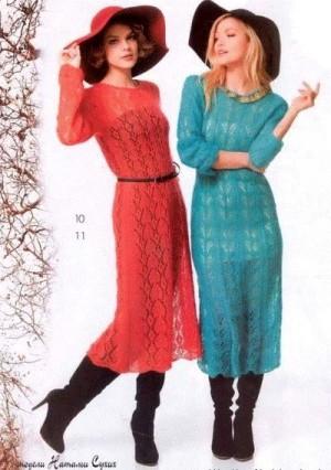 Эффектные платья спицами