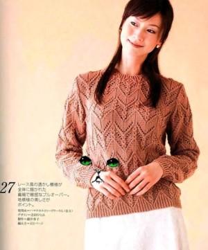 Красивые ажурные пуловеры спицами
