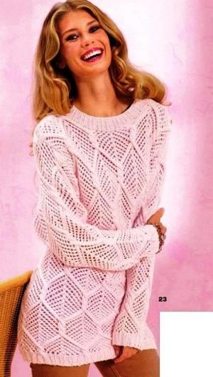 Вязаные ажурные пуловеры спицами