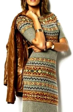 Жаккардовые платья спицами и крючком, интересные схемы вязания