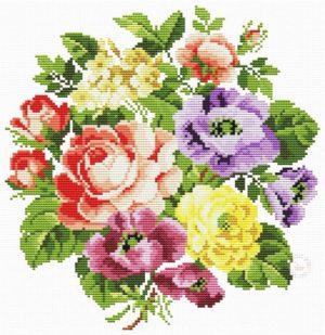 Букеты из роз. Схемы для вышивки.