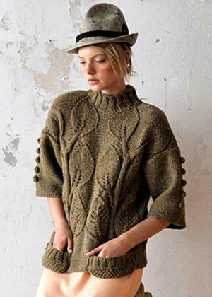 Пуловеры с коротким рукавом спицами
