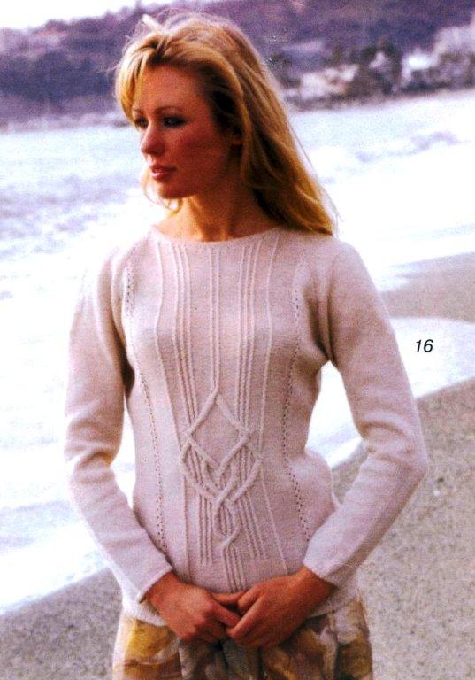 Пуловеры с сочетанием узоров спицами