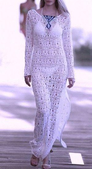Ажурное платье из квадратных мотивов крючком