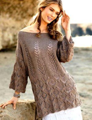 Модные ажурные туники спицами